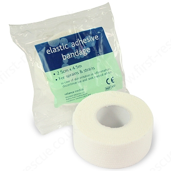 White Elasticated Adhesive Bandage 2.5cm x 4.5m (Pack of 10) 2