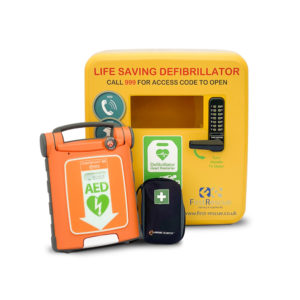 Cardiac Science Powerheart G5 Fully Automatic AED with CPRD & Defibstore 4000 Locked Cabinet Package
